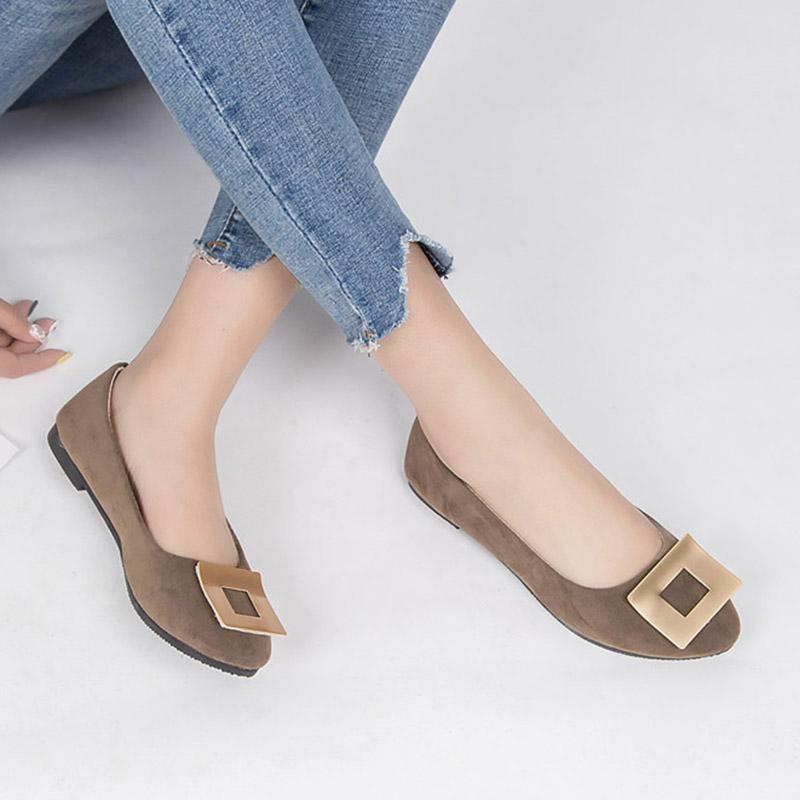 Artı Boyutu Kadın Flats Şeker Renk Düz Ayakkabı Üzerinde Kayma Kadın Loafer'lar Tekne Ayakkabı Rahat Bayanlar Ayakkabı Zapatos Mujer Bale Daireler