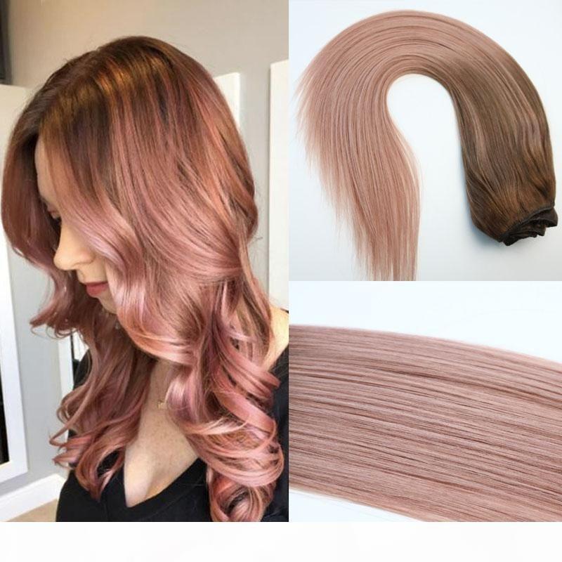 120G Tam Kafa Klip Insan Saç Uzantıları 7 adet Ombre Pembe Kahverengi İpuçları # 3 Rose Gold Balayage Saç Uzantıları Özetler