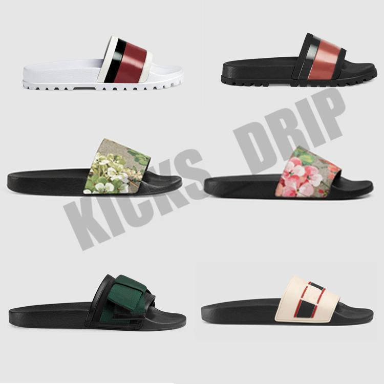 Nuovi sandali di gomma sandali sandali Broccato floreali Donne da uomo Slipper Gear Bottoms Flip Flops Womens Fashion Striped Beach Slippers con scatola regalo