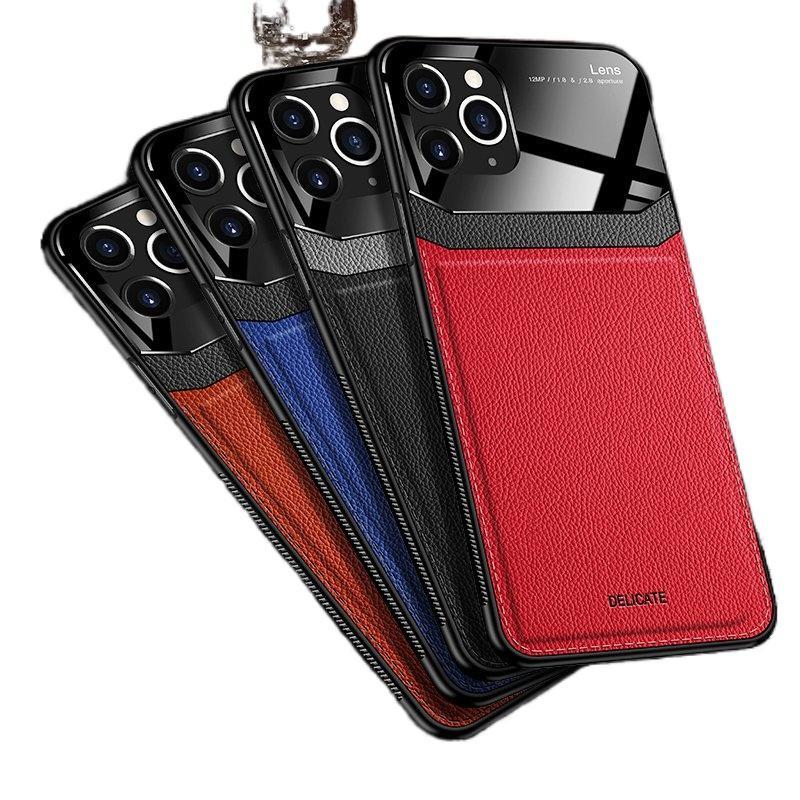아이폰 12 11 프로 최대 XS 최대 PU 가죽 강화 유리 전화 뒷면 아이폰 7 8 6 6S + XR 최대 코크에 대 한 뒷면 커버