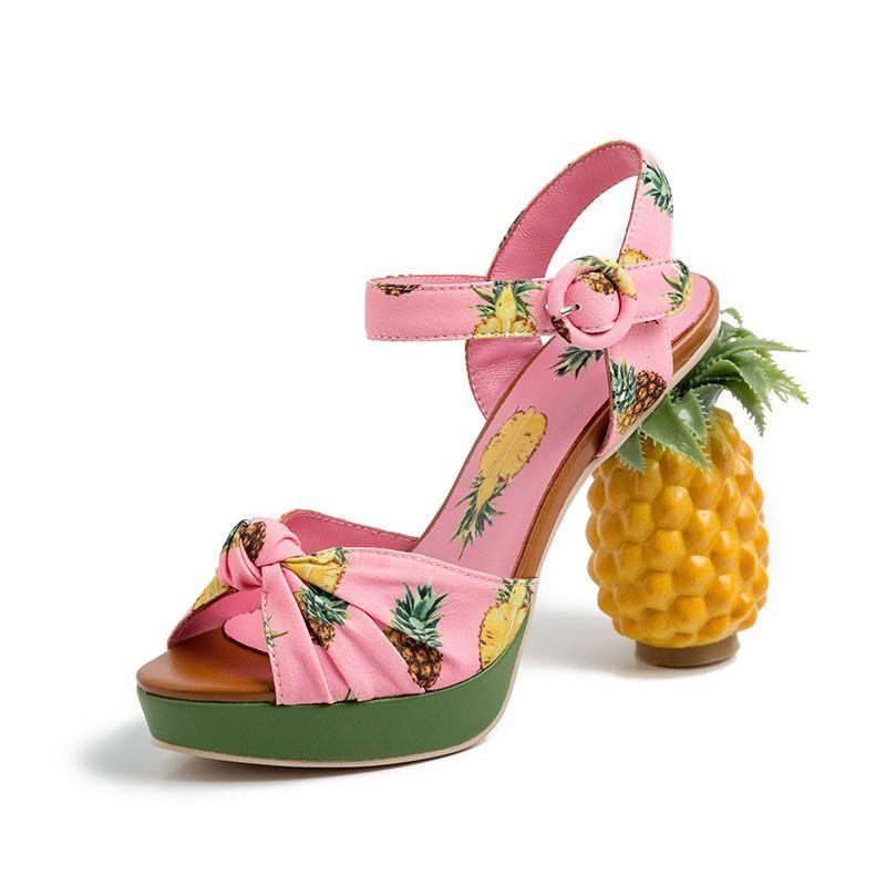 Moda Novidade Abacaxi Salto Doce Bombas Sexy Open Toe Sandálias De Couro Mulheres Festa Data Sapatos Plataforma Rosa Sapatos Sandália