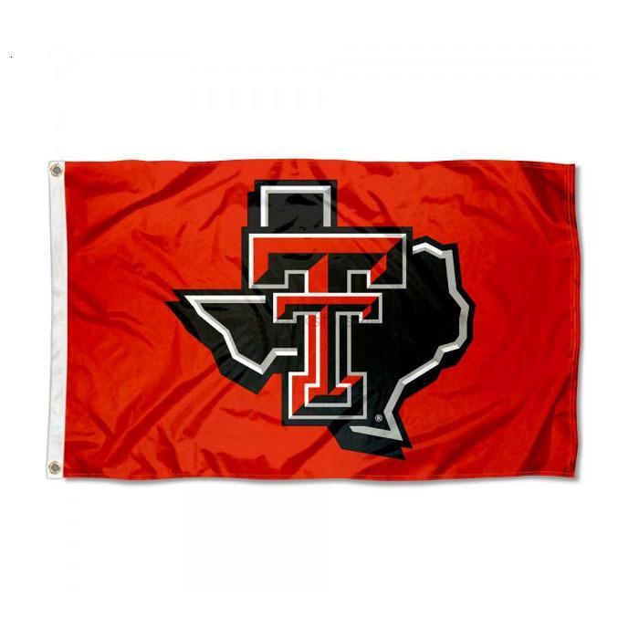 المغيرين العلم الأحمر تكساس تكساس خريطة التكنولوجيا جامعة NCAA فريق العلم 3x5ft مزدوجة مخيط راية 90x150 سنتيمتر الرياضية مهرجان dimhgv