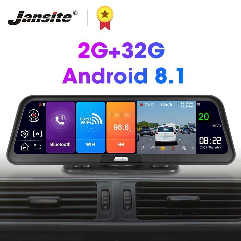 """Jansite 10 """"voiture DVR DVR Android 8.1 Écran tactile GPS Navigation Dash Cam Télécommande Moniteur ADas Recours 2G + 32G Caméra arrière"""