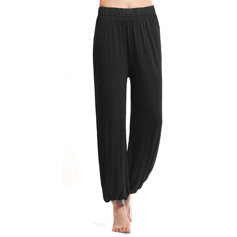 Kadın Pantolon Capris Casual Kadın Yoga Pantolon Spor Büyük Boy Bayanlar Katı Renk Yumuşak Modal Geniş Bacak Pantolon /