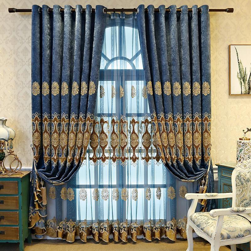 Vorhang drapiert europäische minimalistische moderne Luxus-Stickerei-Schattiervorhänge für Wohn-Esszimmer-Schlafzimmer