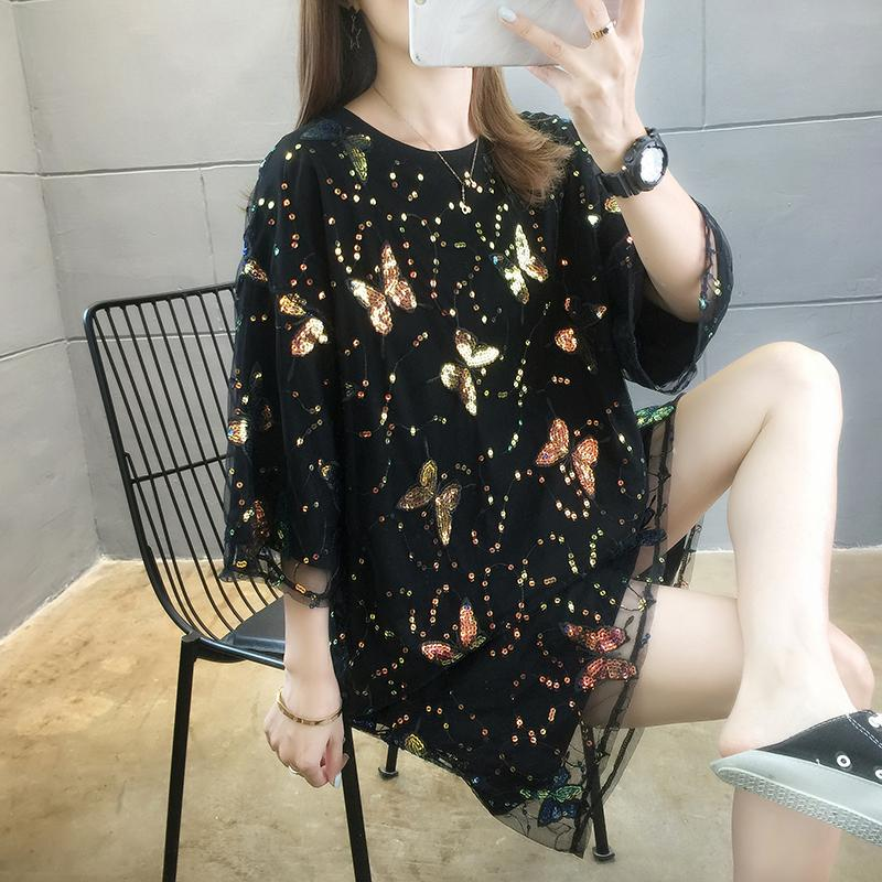 Lace Sequins T-shirt Fashion Girl Short Sleeve Midi T-shirt Summer Casual T-shirt Loose Trend Student Tshirt Summer Women Pullover