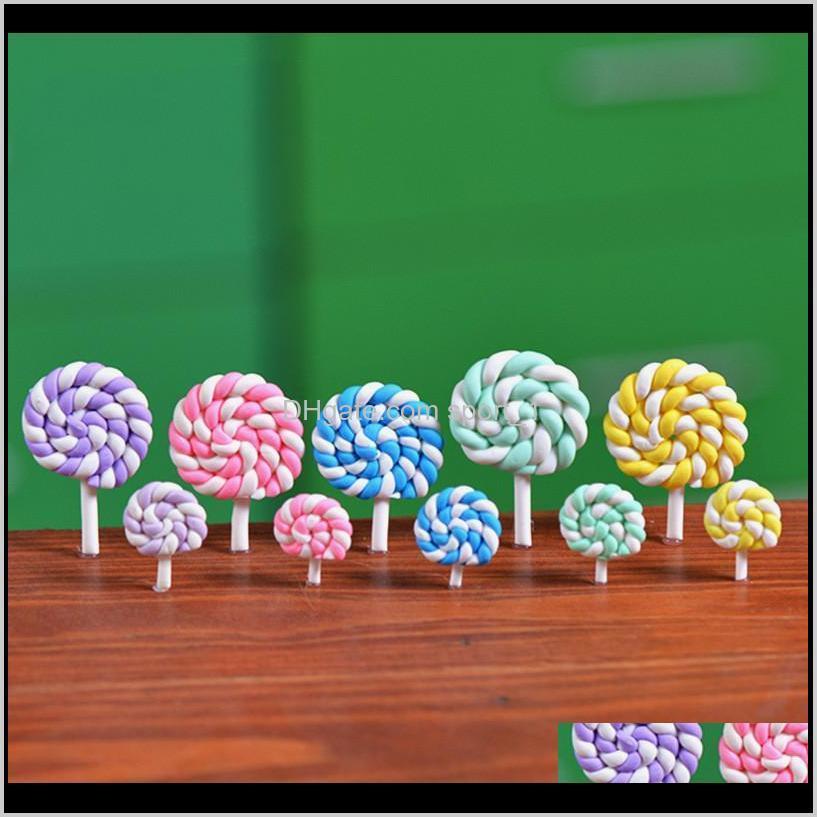 Color colorido Polímero Lollipops Suave Arcilla DIY Juguetes ensamblados Miniatura Hada Jardín Decoración Micro Paisaje Accesorio Cactus Planter YWCDX