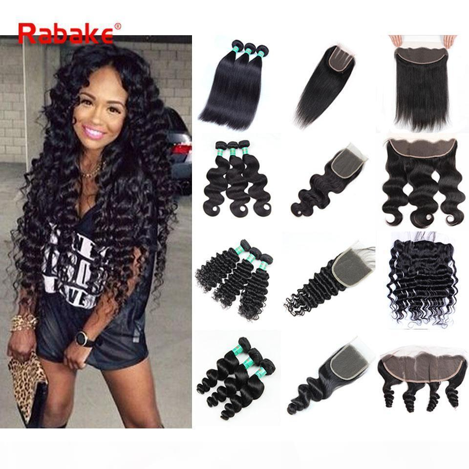 13x4 кружева фронтальные с пучками Rabake 100 Cheveux Hustaness Lace Frontal Deep Wave Глубокие волновые пучки с закрытием
