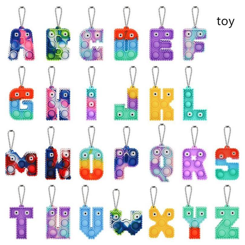 Alphabet Buchstaben Keychain Dekompression Toys Party PET Mobiltelefon mit Silikonbuchstaben Sensorische Bubble Schlüsselanhänger GWE8804