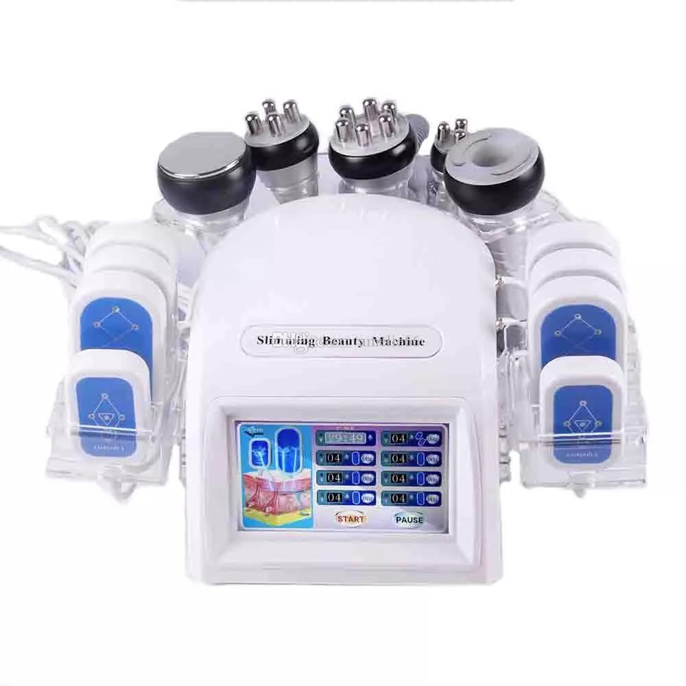 Venda quente 7 em 1 Multifunction Beauty Equipamento Vácuo RF Pele apertando cavitação Máquina de emagrecimento Grátis