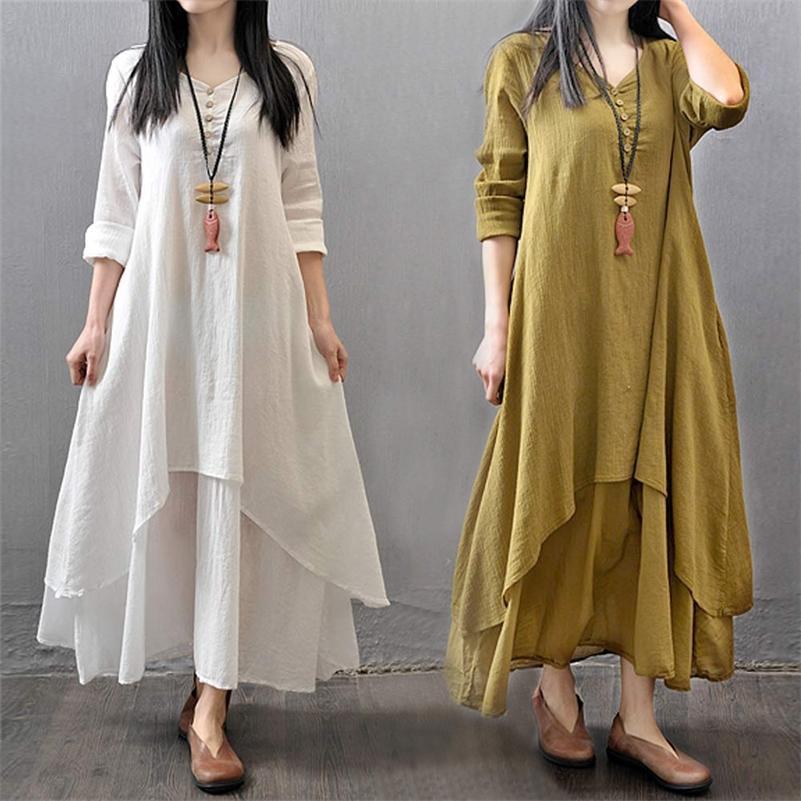 Frühling Sommer Frauen Lange Baumwolle Leinen Kleid Weiß Plus Größe Falsche Zwei Stücke Oansatz Maxi Kleider Büro Casual Lose Kleid 210302