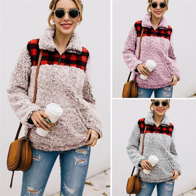 Damen Hoodies Sweatshirts Fleece Jacken Teddybär Wintermäntel Warme Shaggy Flauschige Outwear Wolltasche Top