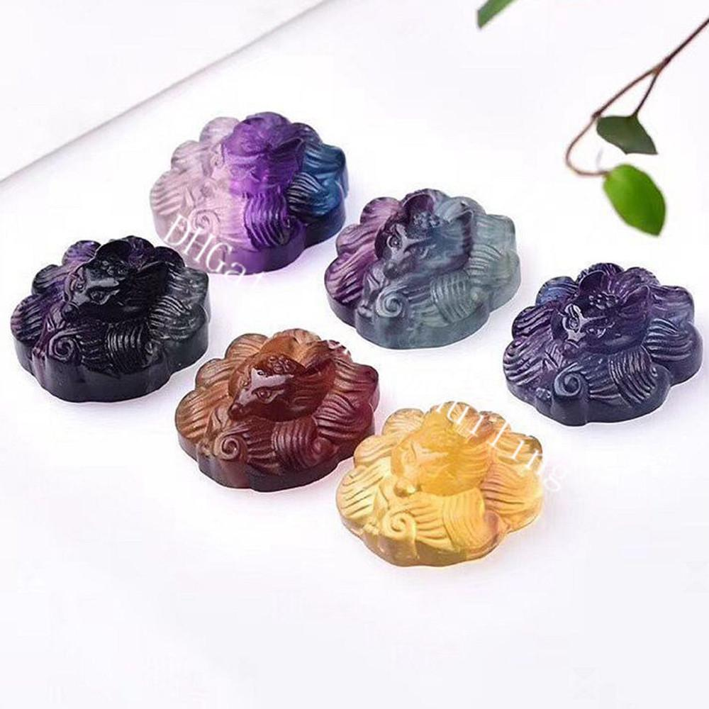30Pcs Natural Rainbow Fluorite Quartz Crystal Nine Tail Fox Pendant Hand Carved Healing Colorful Gemstone Protection Amulet Charm Drilled Hole for Necklace Making