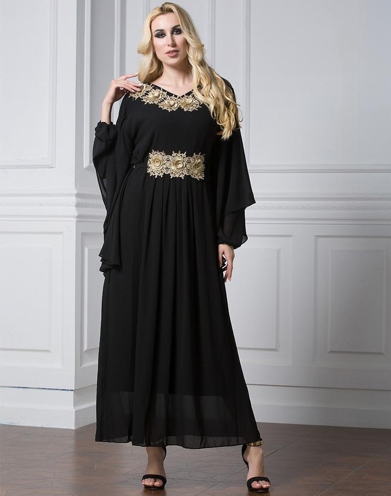 Yaz Dubai Arap Müslüman Şifon Elbise Kadın Aplike Yarasa Kollu Türkiye Başörtüsü Elbiseler Jilbab Jubah Abaya İslam Giyim RKE7