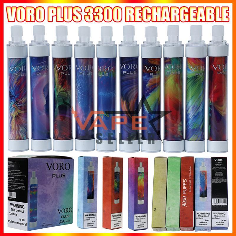 voro 플러스 충전식 일회용 vape 펜 전자 담배 장치 rgb 빛 650mAh 배터리 4.8ml 카트리지 프리 쿼리 3300 퍼프 빛나는 vapes 키트