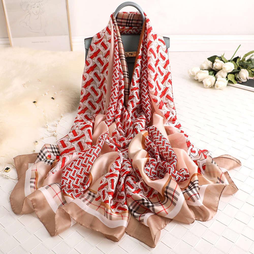 Hangzhou Silk Women's Gauze delgada Larga e invierno Primavera Madre envejecida de mediana edad Bufanda Versátil Mantón