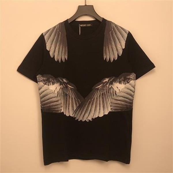 Männer und Frauen Sommer Europäische und amerikanische Engelsflügel Trend Persönlichkeit Baumwolle gedrucktes lockeres kurzärmeliges T-Shirt