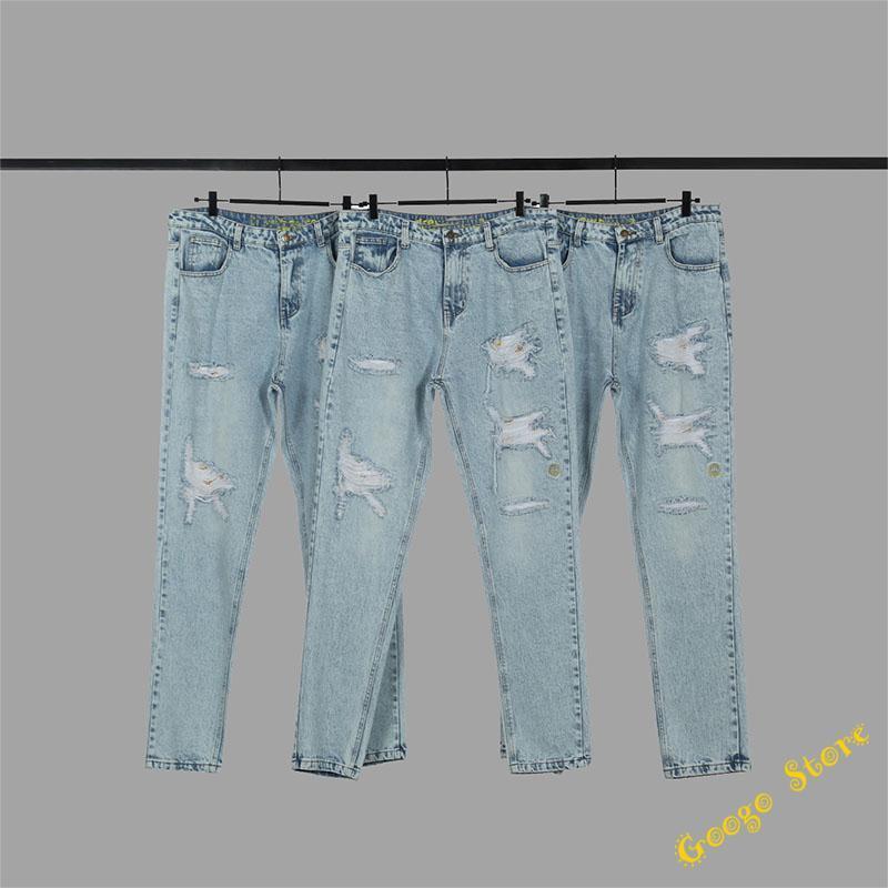 Erkekler Kadınlar En İyi Kalite Mavi Kot Hip-Hop Hasar Delik Sıkıntılı Kovboy Denim Pantolon Pantolon