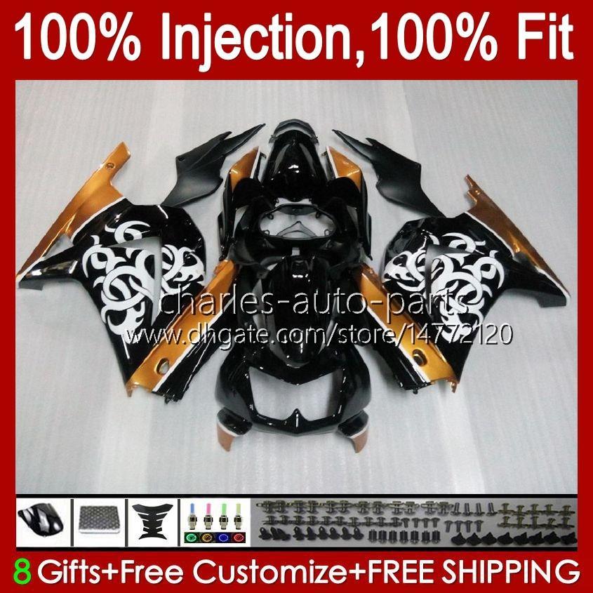 Injection pour Kawasaki Ninja ZX250R EX250 2008 2009 2011 2012 13HC.51 Golden Black EX250R ZX-250R ZX250 ZX 250R 08 09 10 11 12 Catériel