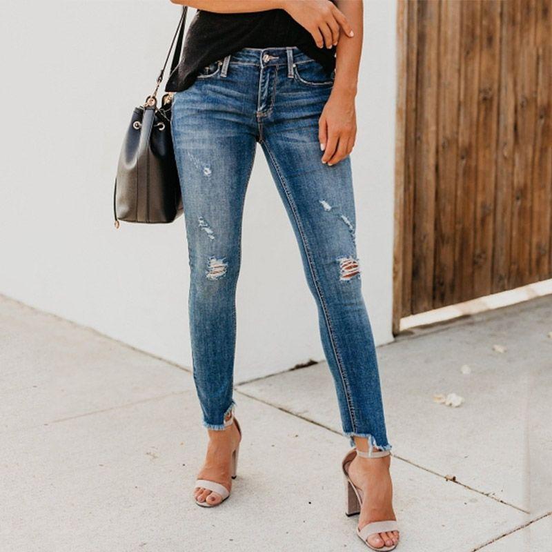 Jeans Femmes Stretch déchiré Skinny Skinny Skinny High Taille Pantalon Denim Pantalon râpé déchiqueté déchiré