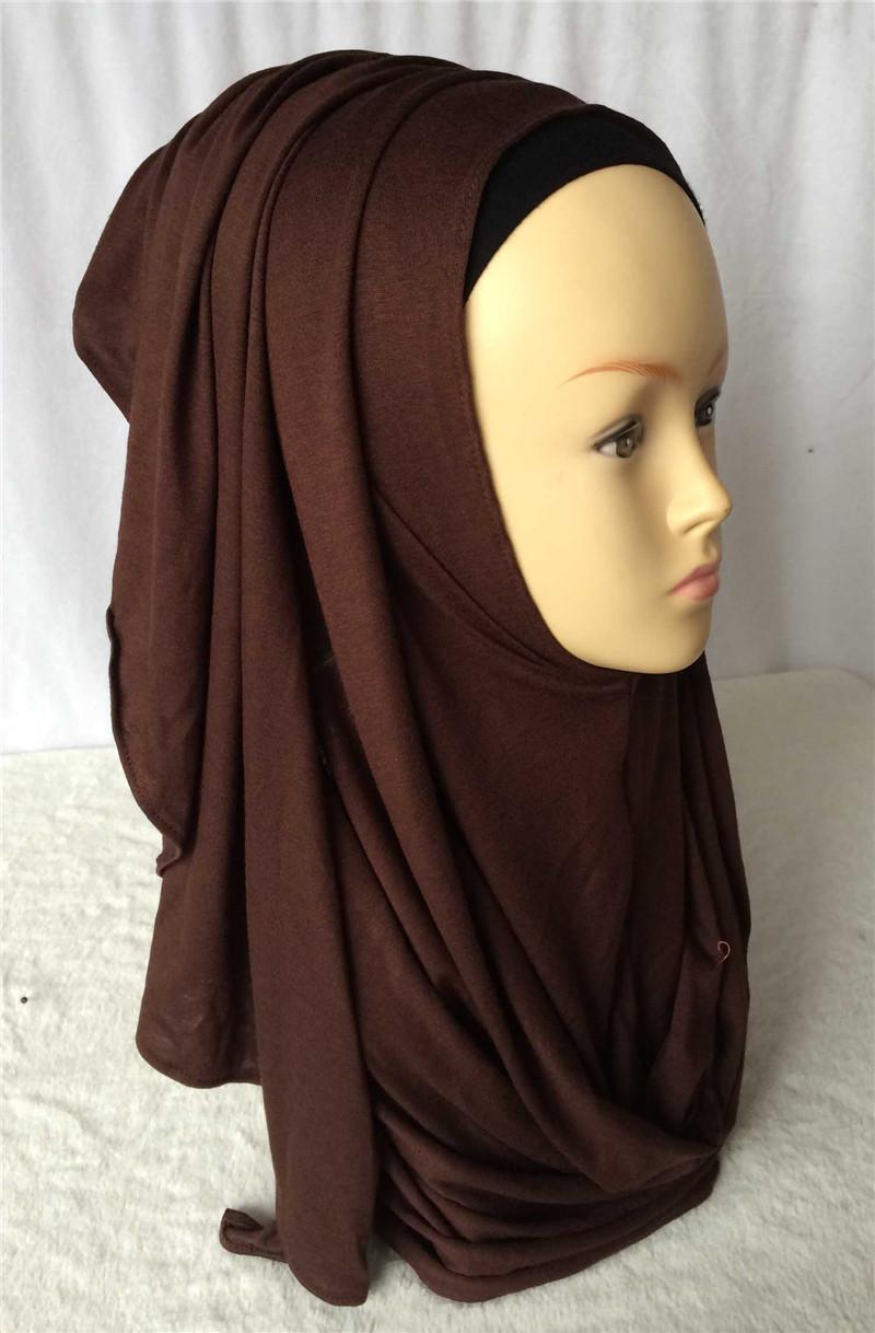 Wholesale- New Colors Cotton Jersey Instant Shawl Slip on Instant Amira Style On-the-go Hijab Scarf Curve Edges