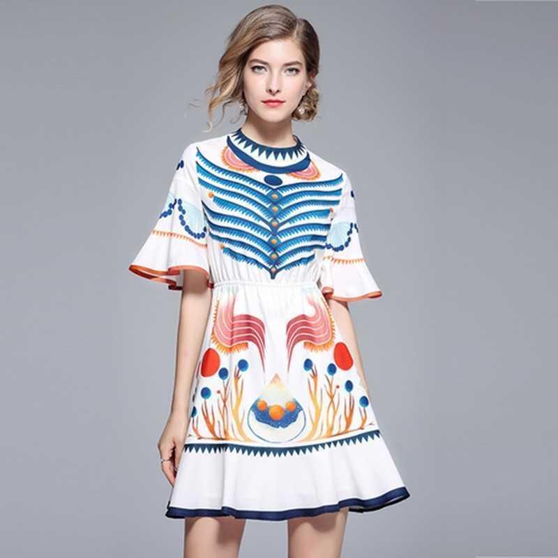 Lady Yaz Kadınlar için Yüksek Kalite Elbise Pist Tasarımcısı Baskı Flare Kollu Fırfır Mini Bohemia Boho Elbise 210525