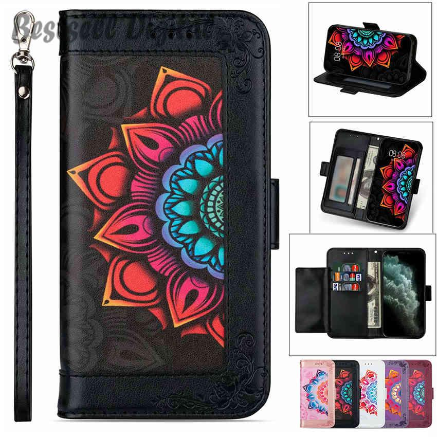 Fashion Retro Flower Flip Leather Case For Samsung Galaxy S6 S7 Edge S8 S9 S10 S20 FE Note 8 9 10 20 Plus Ultra Lite Photo frame Cover