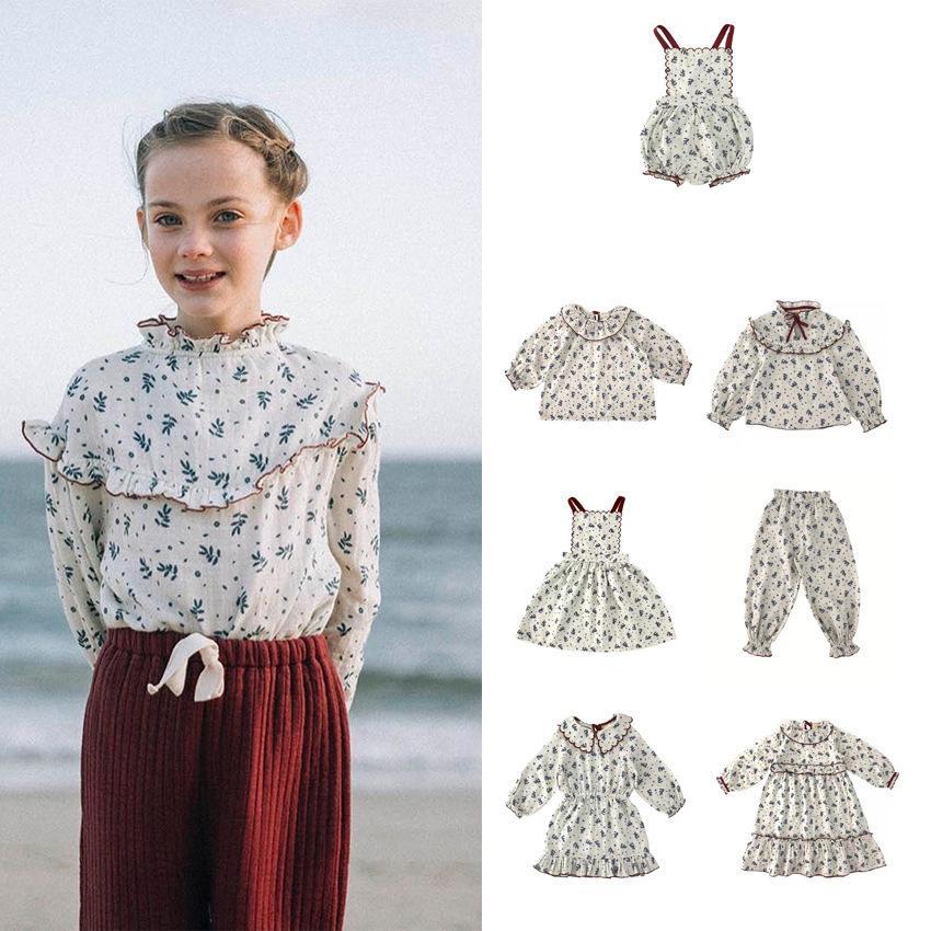 Été Vintage Enfants Spring Girls Long Mouw Beautiful Modèle Pouvoir Robe décontractée Hawaii Style Vêtements pour enfants Li *