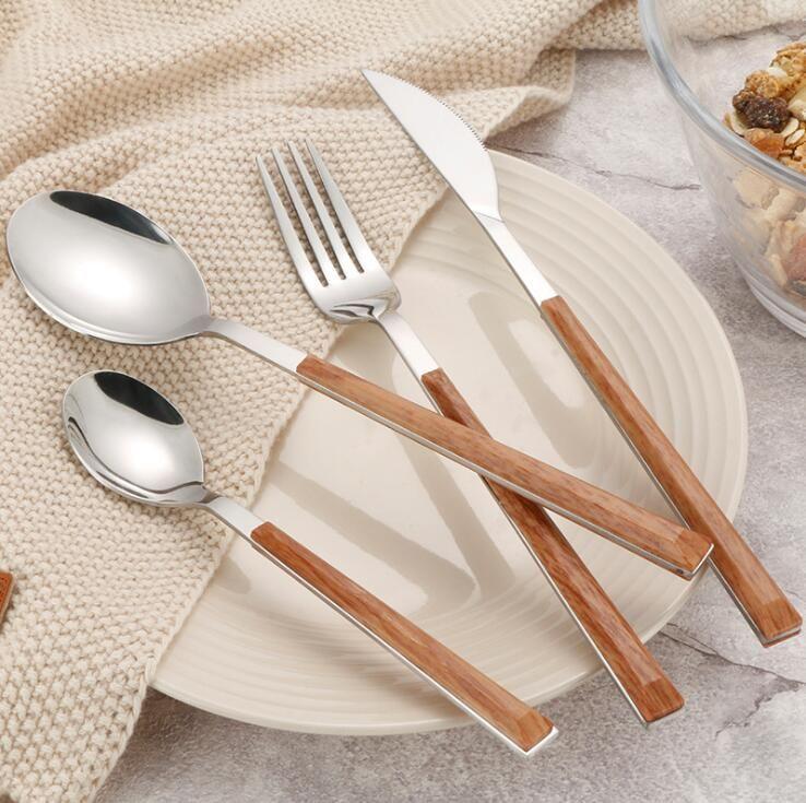 Столовые приборы из нержавеющей стали Набор с ручкой ABS Creative Imitatition Деревянная ручка Западные столовые посуды наборы ложки ножа вилка посуда