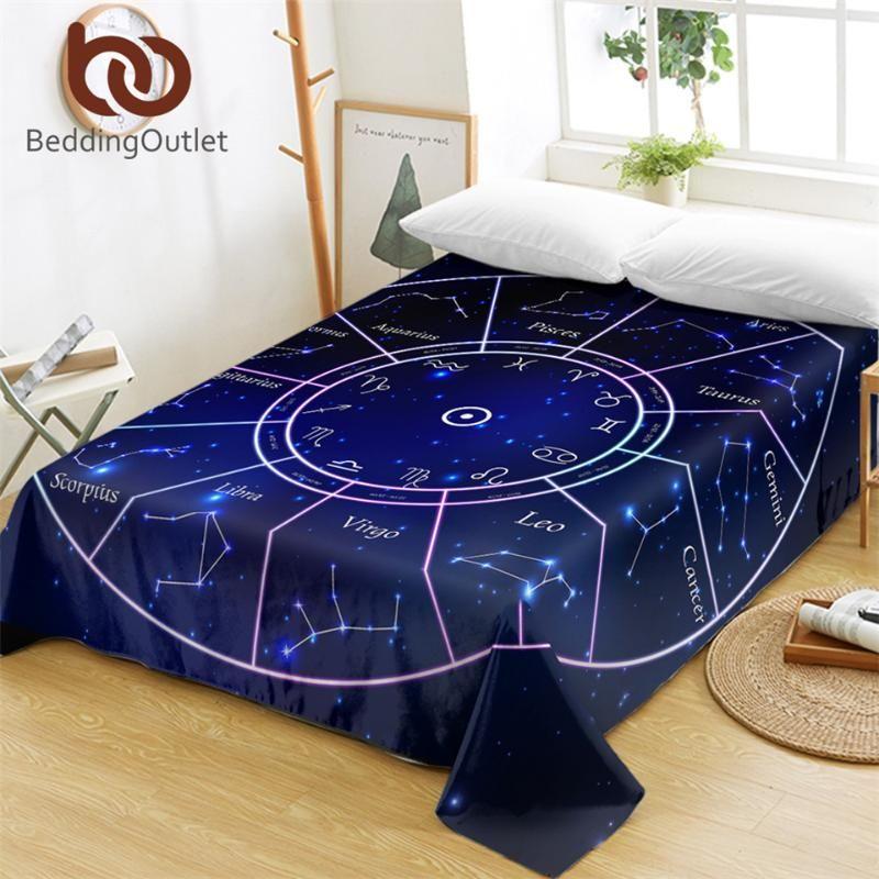BeddingOutlet Twelve Constellations Bed Sheets Galaxy Stars Flat Sheet Horoscope Blue Bed Linen Scorpius Leo Home Textiles Queen