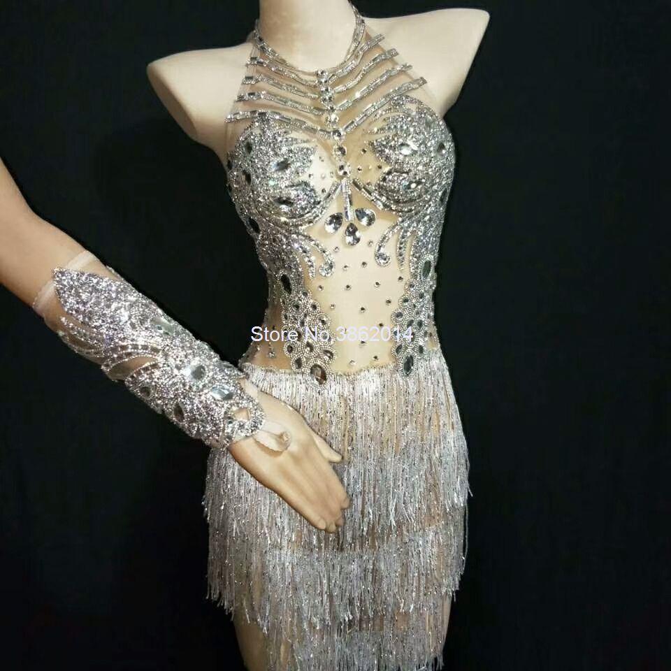 Sparkly Silver Crystals Mesh Fringes Платье Женщины Сексуальный Ночной клуб Performance Outfit Певица Танцор Костюм праздновать партийные платья