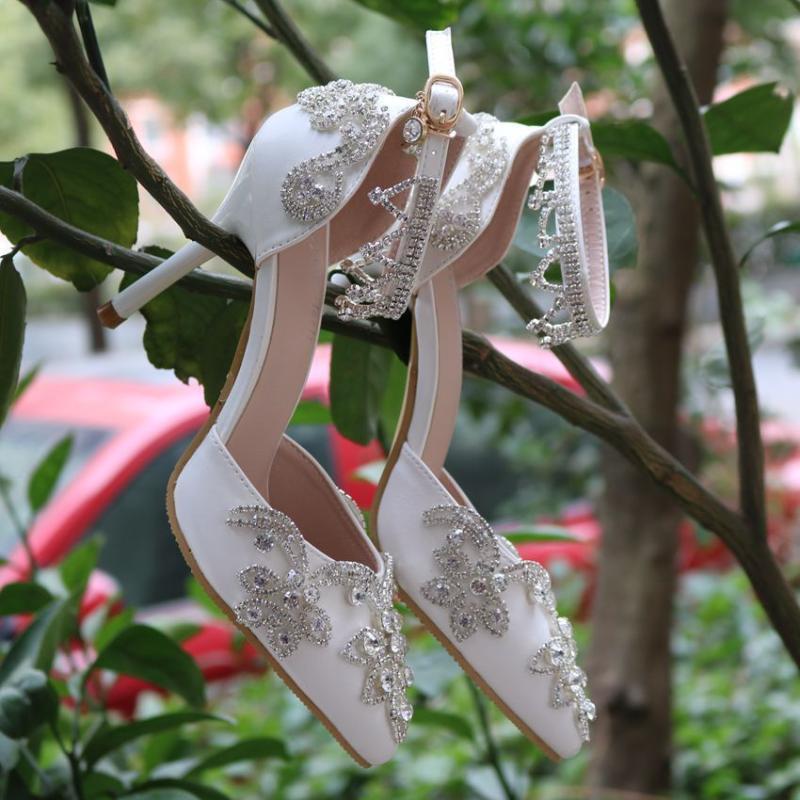 Сандалии Tassel Diamond внешняя торговля Тонкий каблук оказал белые туфли женщин высокие каблуки