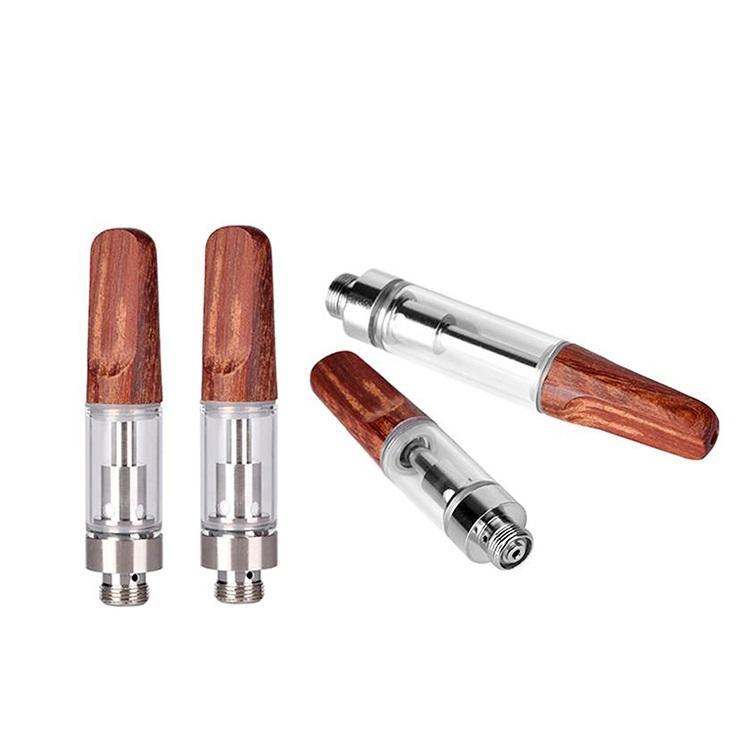 New wooden Carts Red Wood Drip Tips Ceramic Coil Vape Cartridges 0.5ml 1.0ml Pyrex Glass Vaporizer TH105 TH205 510 Thick Oil vape