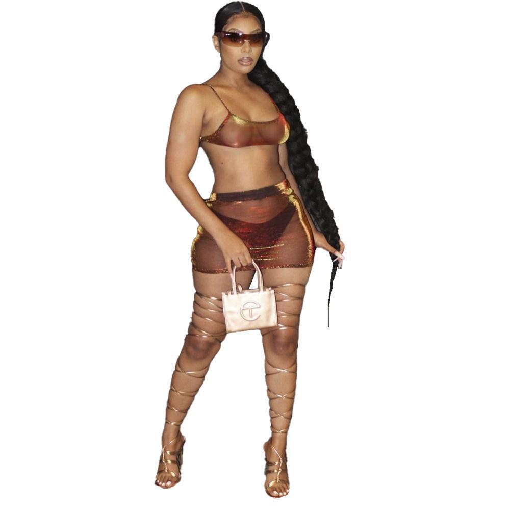 إمرأة قطعة ملابس ملابس نسائية نساء براون ماجيك فانوس الحرير شفافة قطعتين مجموعة