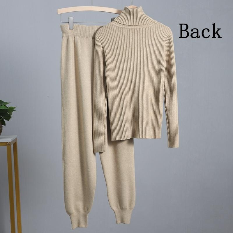 Stil Bygouby Spor Suits ve Kalın Balıkçı Yaka Kazak Tops + Uzun Örme Harem Pantolon İki Adet Setleri Parça 0OC0