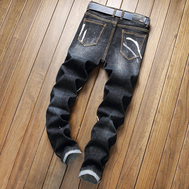 Avrupa sonbahar kış amerikan erkek kot ince düz tüm maç kovboy pantolon moda adam streç yırtık gençlik denim tro i28u
