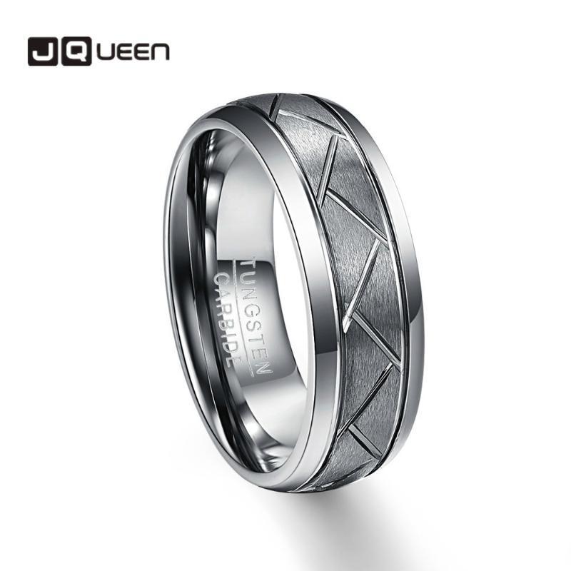 Anéis de cluster 100% carboneto de tungstênio 8mm homens diagonal dos homens dos homens escovados faixa de casamento conforto tamanho 7-12 Qualidade