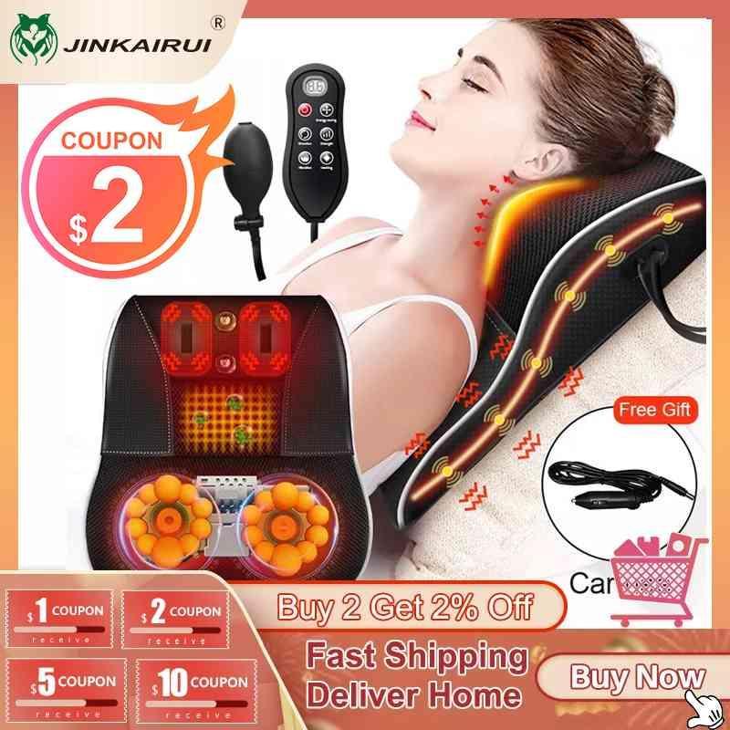 Jinkairui Electric Shiatsu رئيس الرقبة عنق الرحم Ttraction الجسم مدلك سيارة الظهر وسادة مع التدفئة تهتز جهاز التدليك