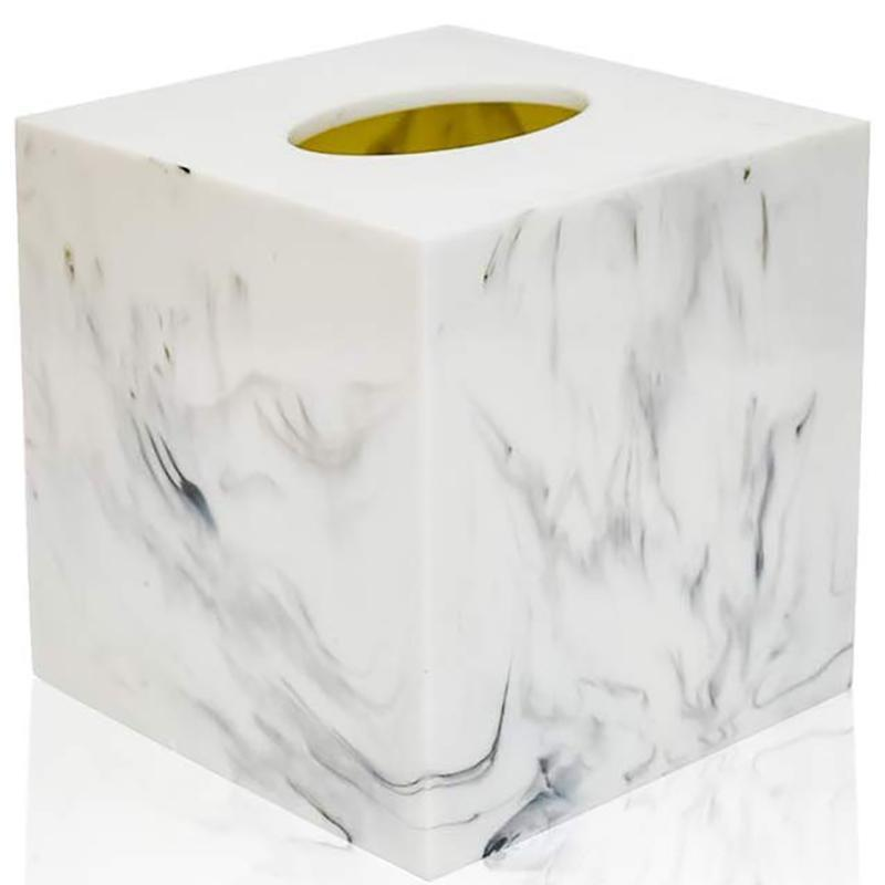 Cubierta de caja de tejido cuadrado, servilleta facial para baño oficina de sala de estar, mármol-imitación hecha de resina (blanco)