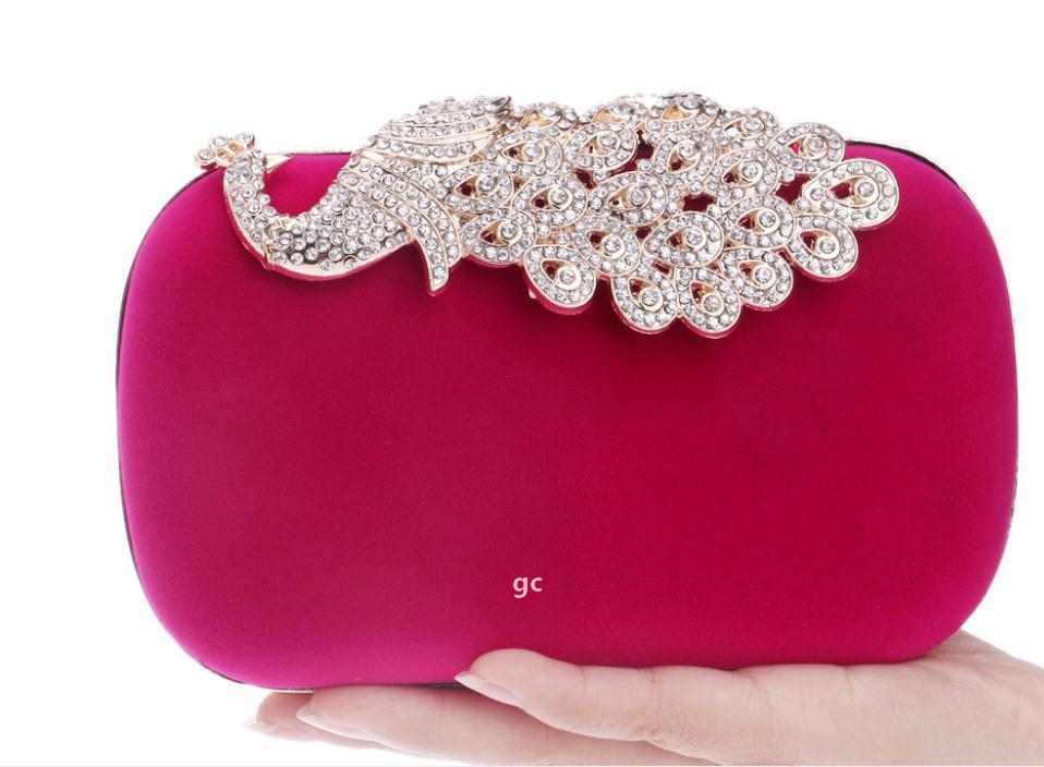 Hot Sale 4 Colors Fashion Crystal Diamond Handbag Evening Bag Purse Elegant Peacock Clutch Free Shipping.