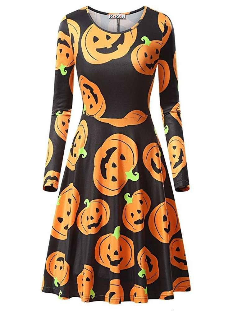 Primavera Autunno Abito a maniche lunghe Abito di Halloween Donne Pumpkin Stampa Gonna Fashion Trend Funny Costume Party Multicolor S-XL