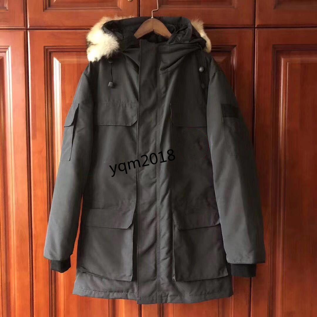 New Winter Men's Down Jacket Down Parka Pano impermeável com colarinho de pele Quente elegante Mens Mulheres Casal Casaco Casacos Atacado
