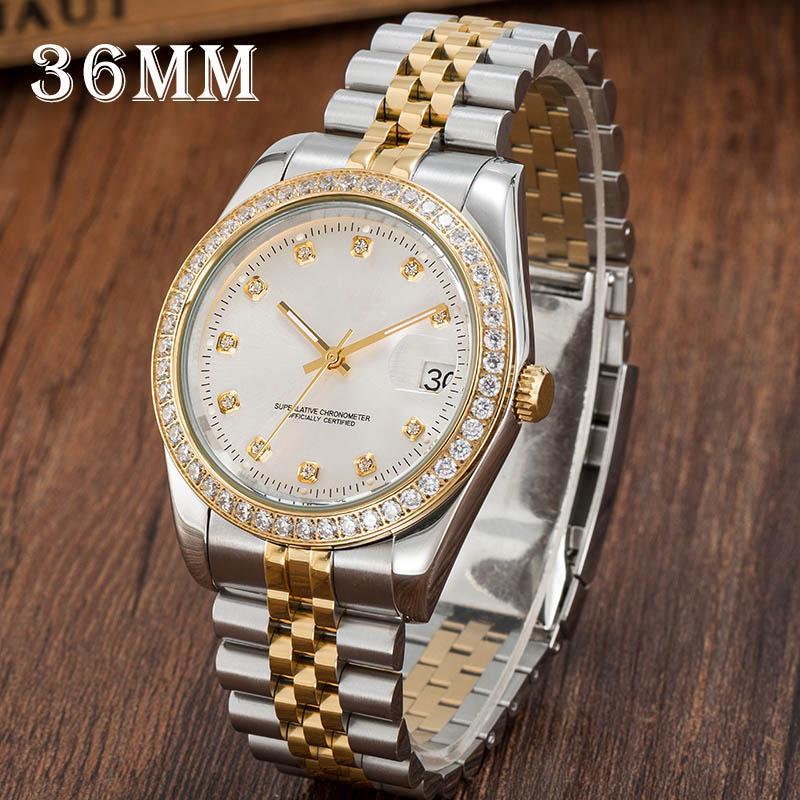 Mulheres Automático Relógios Mecânicos Montre de Luxe Completo De Aço Inoxidável Sapphire Vidro 5 ATM Impermeável Super Luminoso Para O Relógio de Diamante U1 Fábrica