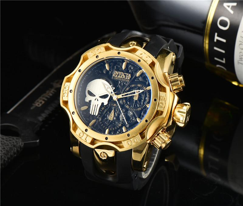 2021 New Mens Watch Skull Dial Múltiplos Estilos Invicta Moda Casual Relógios Borracha Strap Relógio Hot Itens