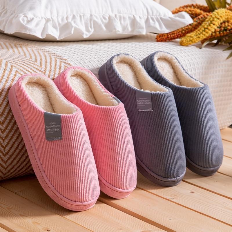 Тапочки женщины зимний теплый дом дома мягкие нескользящие плюшевые хлопчатобумажные туфли мужчины любителей спальни женские девушки мальчики милые меховые слайды
