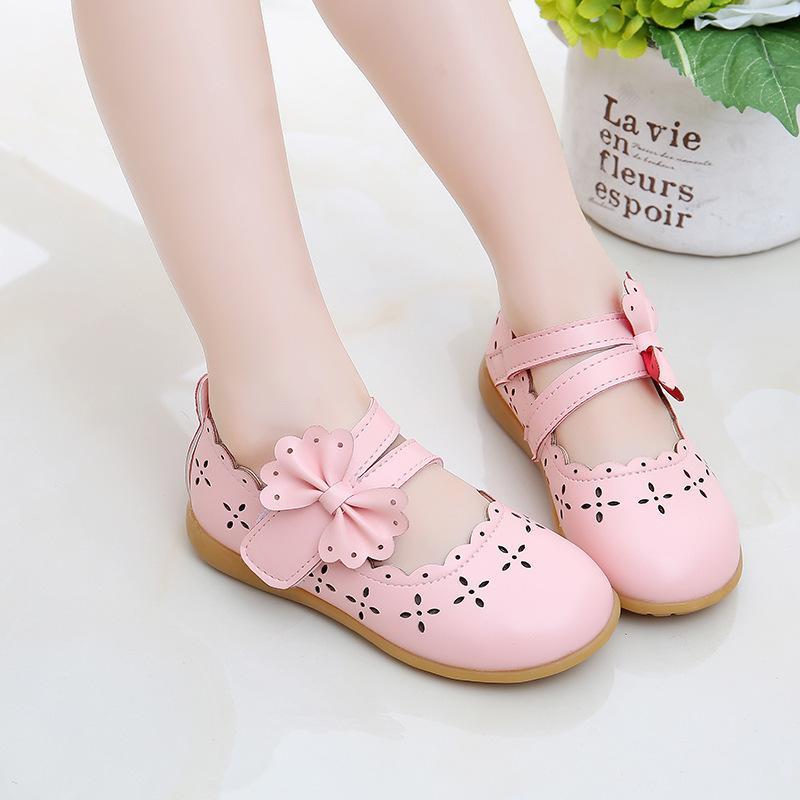 JGVIKOTO Princesa Soft Girls Sapatos Crianças Crianças Couro Liso Sapatos Cut-Outs Bow-Gravata Respirável Moda Rosa Branco Flats 21-30 210223