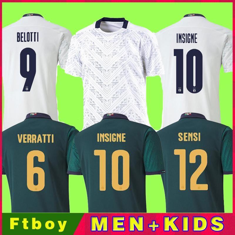 2020 2021 Itália Futebol Jersey Home Away Jorginho El Shaarawy Bonucci Insigne Bernardeschi Homens adultos + Kit Kit Kit Camisas de futebol