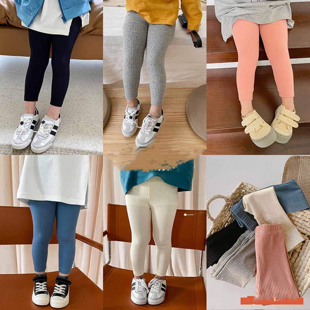 AMBB Quality Korean Newest INS Spring kids girl pants girl leggings kids knitted cotton leggings children autumn girls cute tights