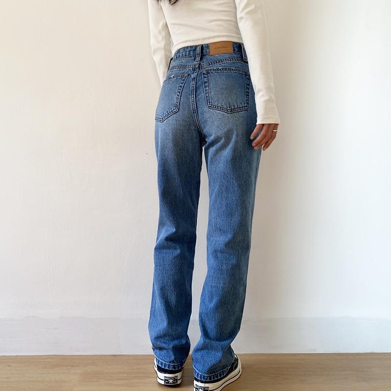 Kadınlar için Baggy 2021 Anne Kot Yüksek Bel Mavi Gevşek Yıkanmış Moda Düz Denim Pantolon Vintage Stree VQO8