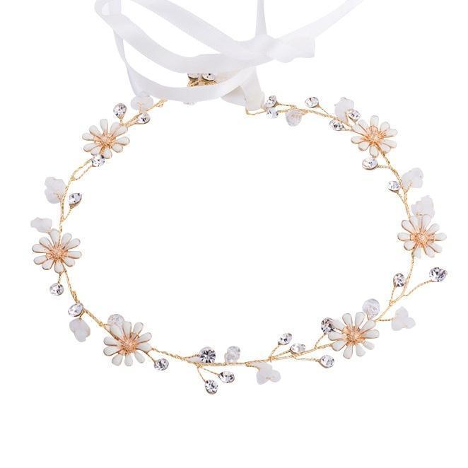 Jlzxsy margarita hecha a mano flor de pelo cristal perla boda novia diadema tiara boda accesorios para el cabello
